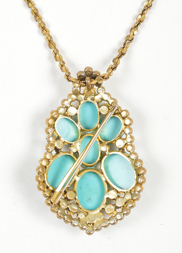 Brass Toned, Turquoise Beaded, and Faux Pearl Miriam Haskell Pendant Necklace Detail 2
