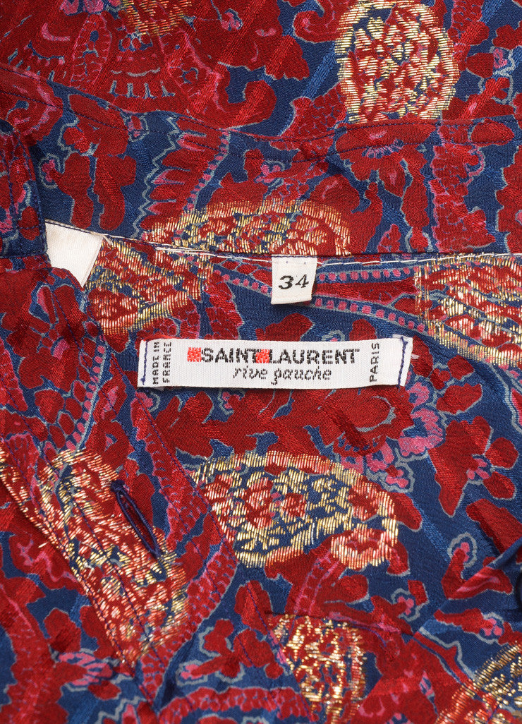 Saint Laurent Maroon, Blue, and Gold Paisley Button Down Blouse Brand