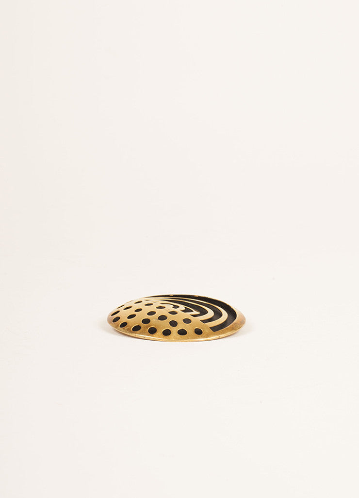 Vaubel Gold Toned and Black Cut Out Round Pin Sideview