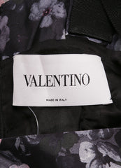 Valentino Black, Pink, and Grey Floral Print Ribbon Strap Empire Waist Sheath Dress Brand