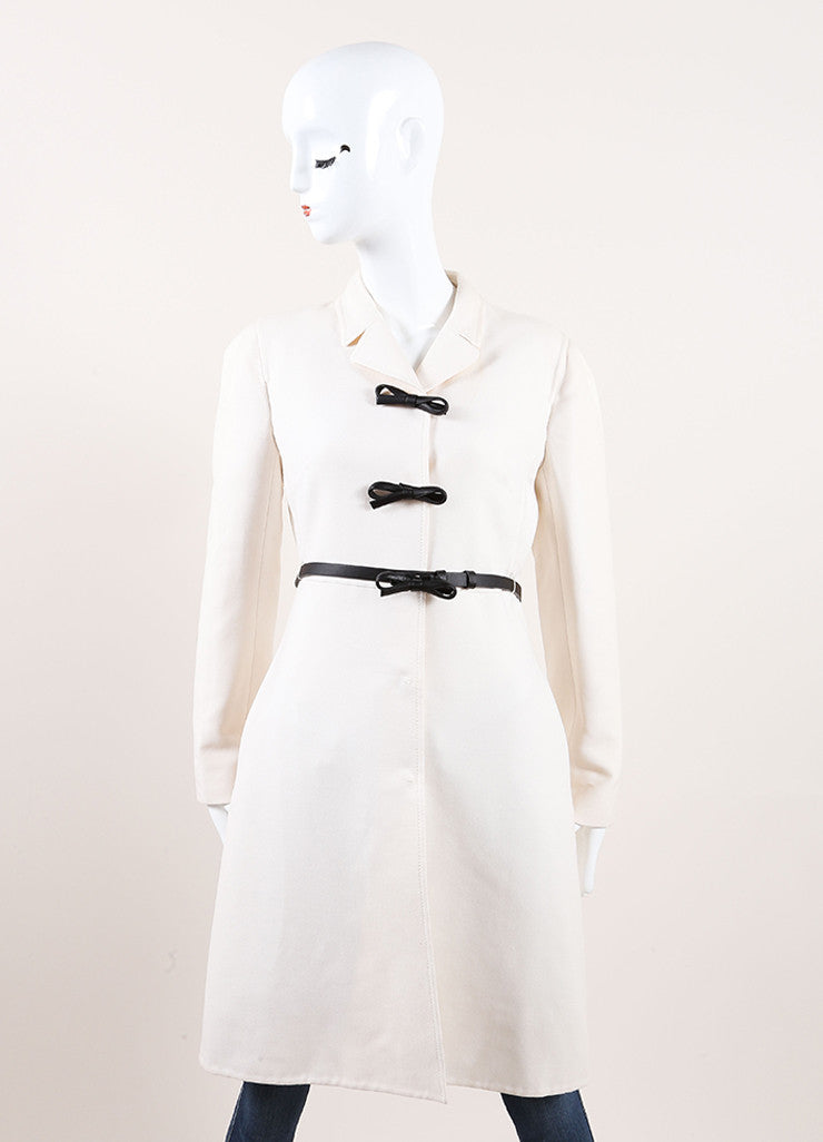 Valentino New With Tags Cream Wool and Silk Bow Snap Belted Overcoat Frontview