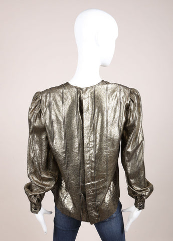 Valentino Gold Metallic Back Button Up Blouse Backview