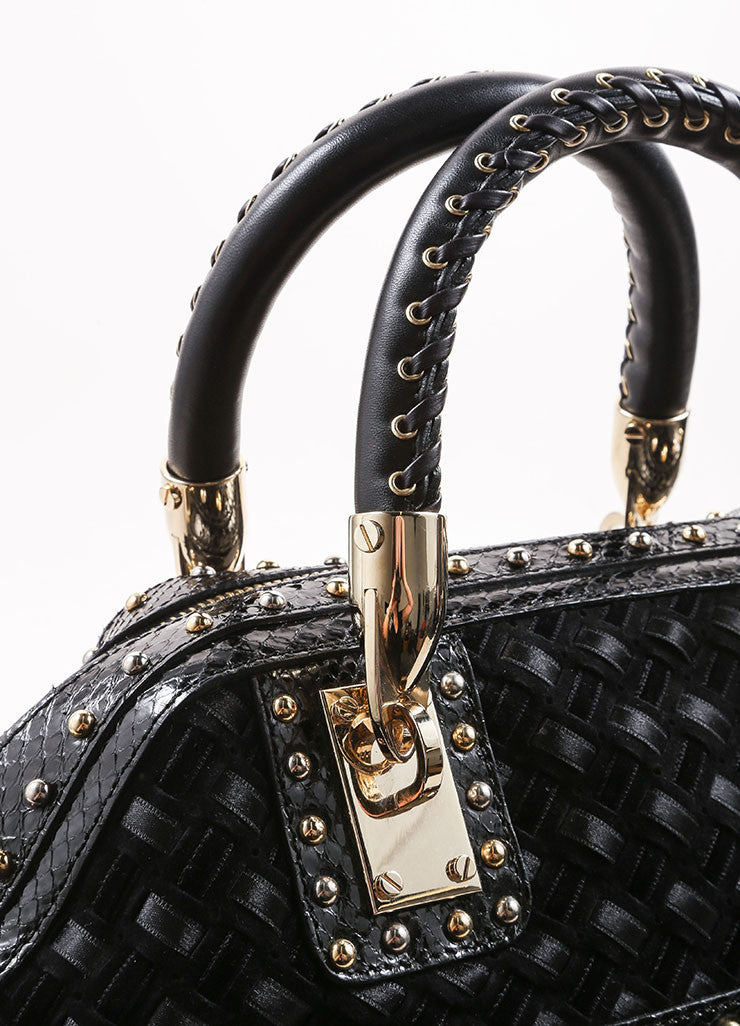 Versace Black Woven Suede, Velvet, and Snakeskin Studded Tassel Satchel Bag Detail 2