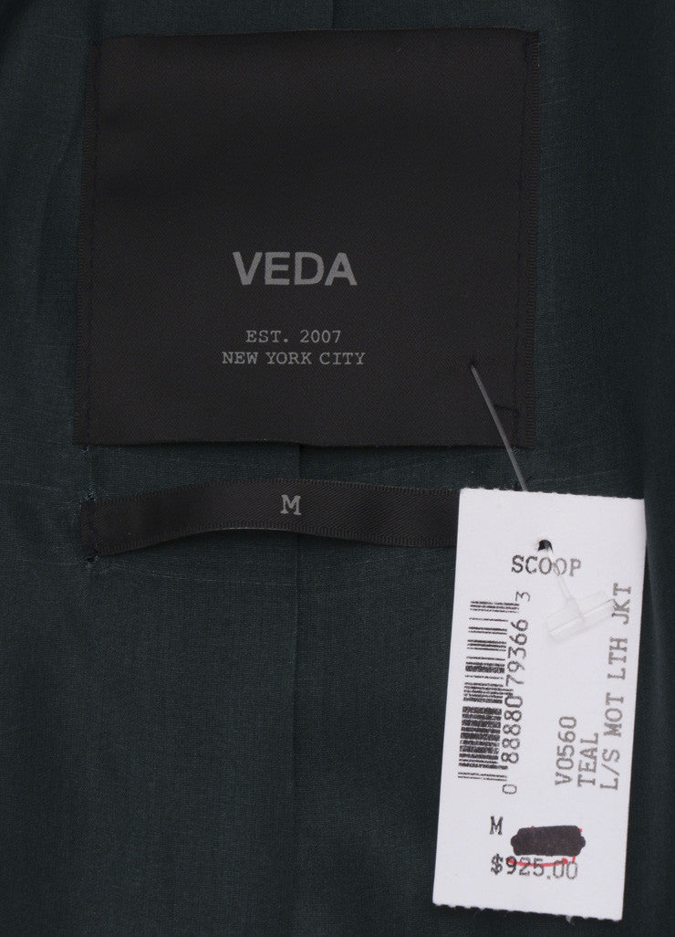 Veda Hunter Green Leather Moto Jacket Brand