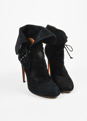 Alaia Black Suede Lace Up Fold Over Booties Frontview