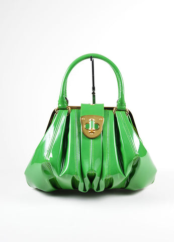 "Green Alexander McQueen Patent Leather Pleated ""Elvie"" Tote Bag Frontview"