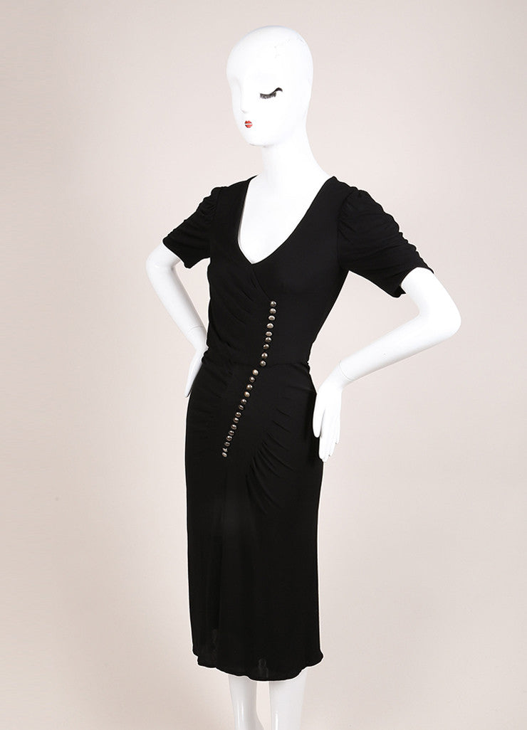 Alexander McQueen Black Jersey Button Front Ruched Short Sleeve Dress Sideview