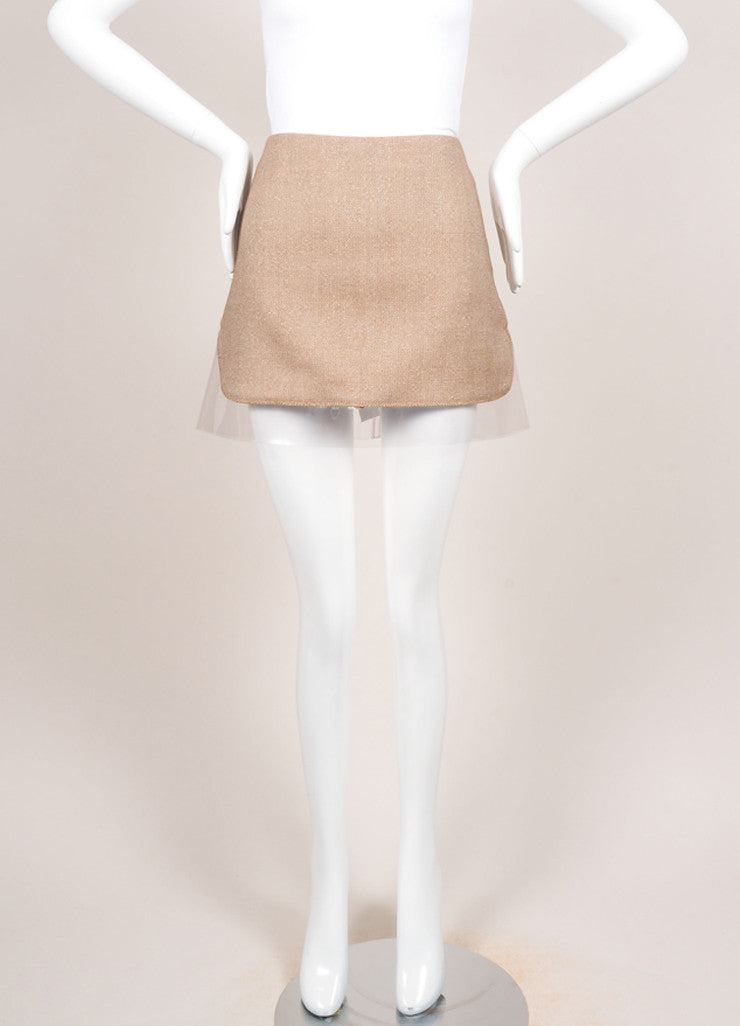 Alexander McQueen Brown and Cream Wool Gold Detail Plastic Trim Mini Skirt Frontview