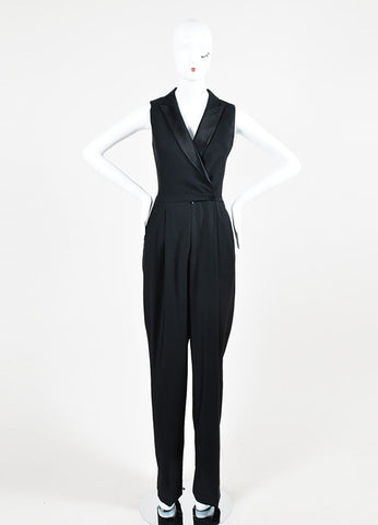 Black Alexander McQueen Wool and Silk Sleeveless Tuxedo Jumpsuit Frontview
