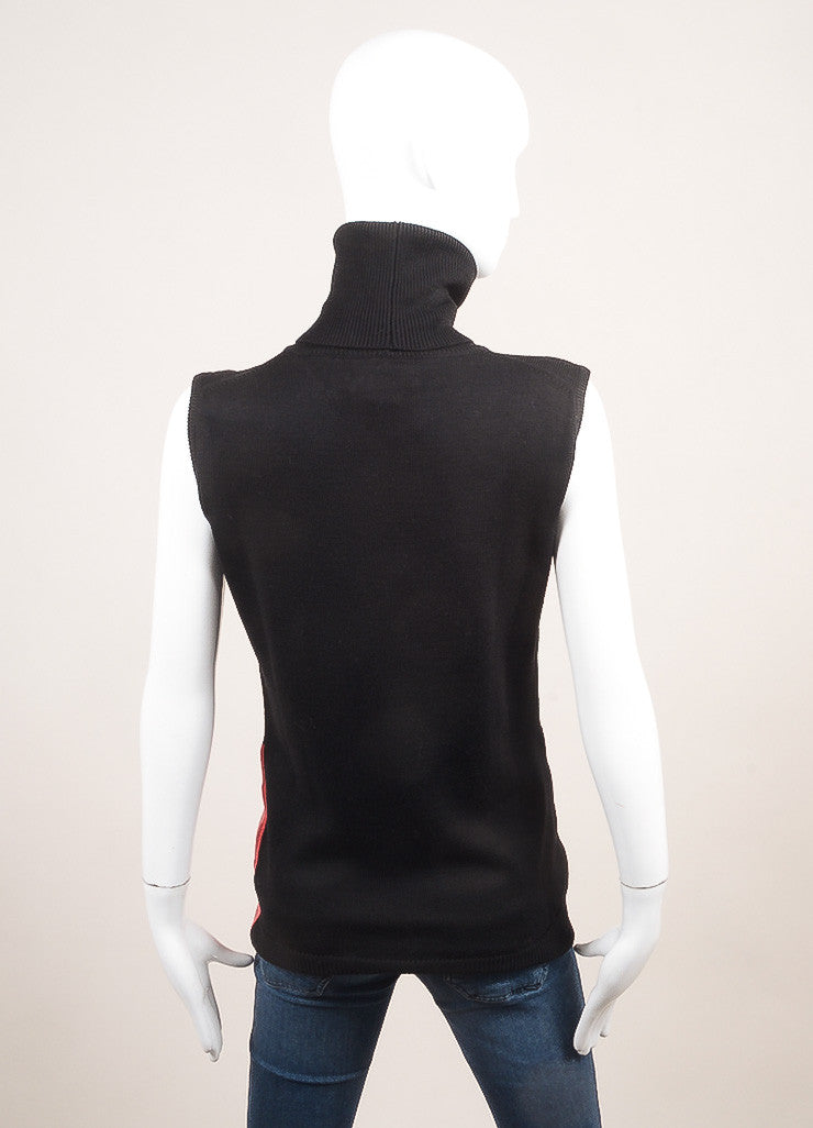 Altuzarra New With Tags Black, Pink, and Green Wool Sleeveless Turtleneck Top Backview