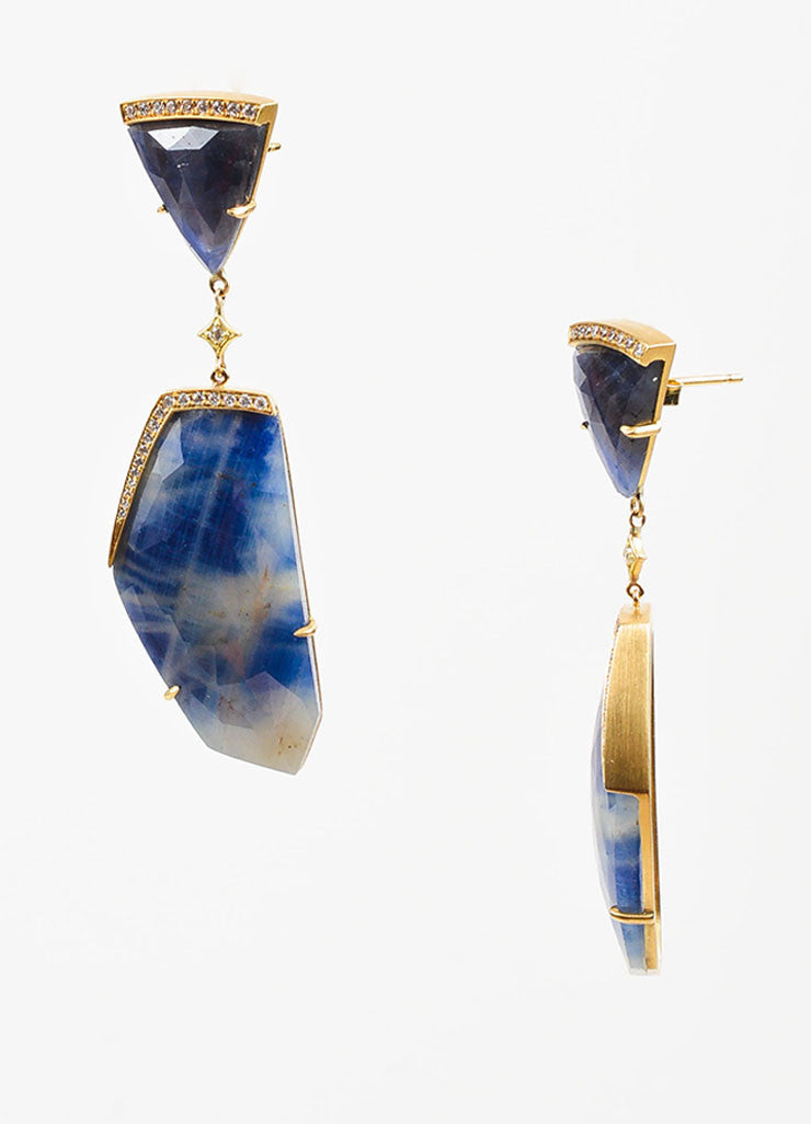 Anahita 18K Yellow Gold, Sliced Sapphire, and Diamond Geometric Drop Earrings Sideview