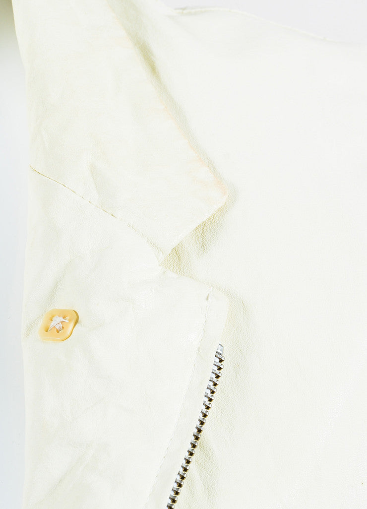 Cream Ann Demeulemeester Leather Crinkled Distressed Moto Jacket Detail