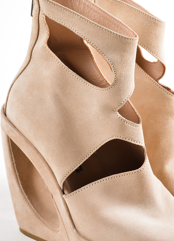 Ann Demeulemeester Tan Suede Open Toe Cut Out Structural Wedge Booties Detail