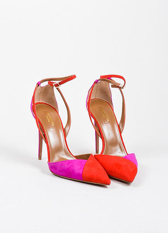 Red and Pink Aquazzura Suede Color Block Ankle Strap Pointed Pumps Frontview