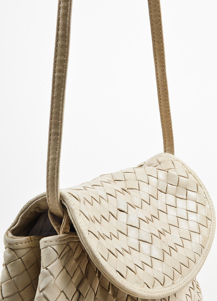 Bottega Veneta Beige Leather Intrecciato Woven Crossbody Shoulder Bag Detail 2