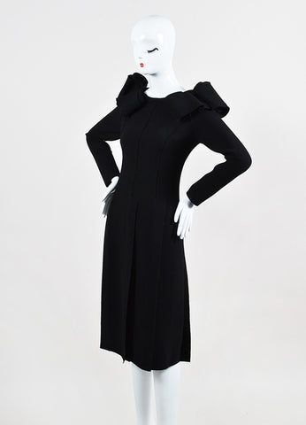 Bottega Veneta Black Crepe Off Shoulder Ruffle Detail Long Sleeve Sheath Dress Sideview