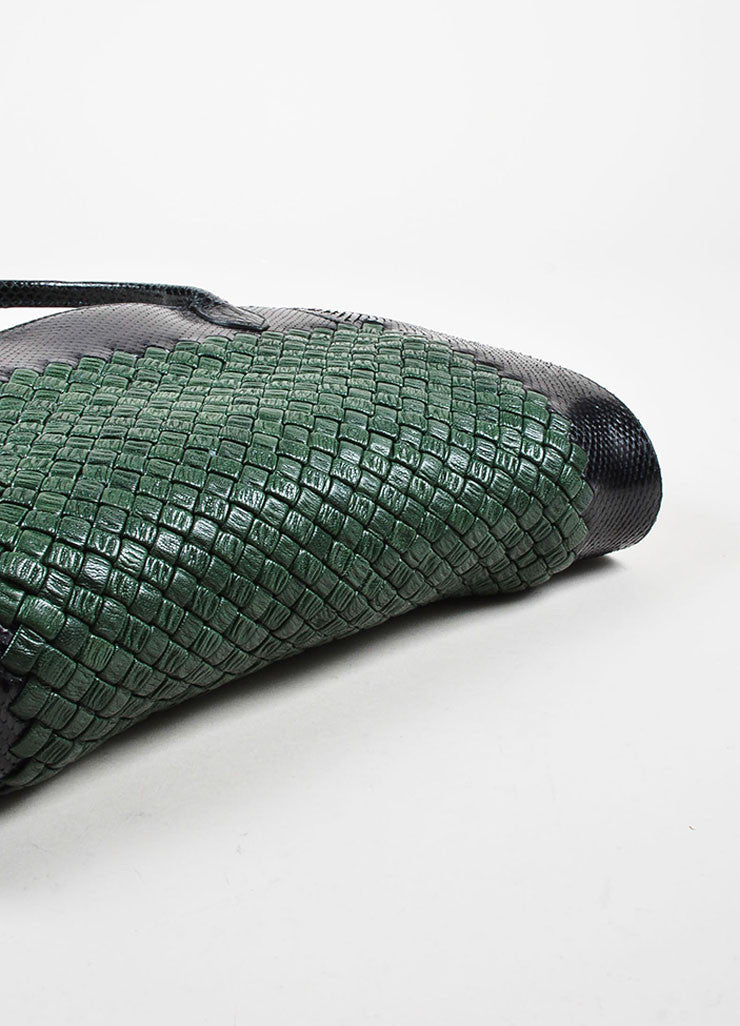 Bottega Veneta Green and Black Woven Leather Snakeskin Trim Two Compartment Handbag Bottom View