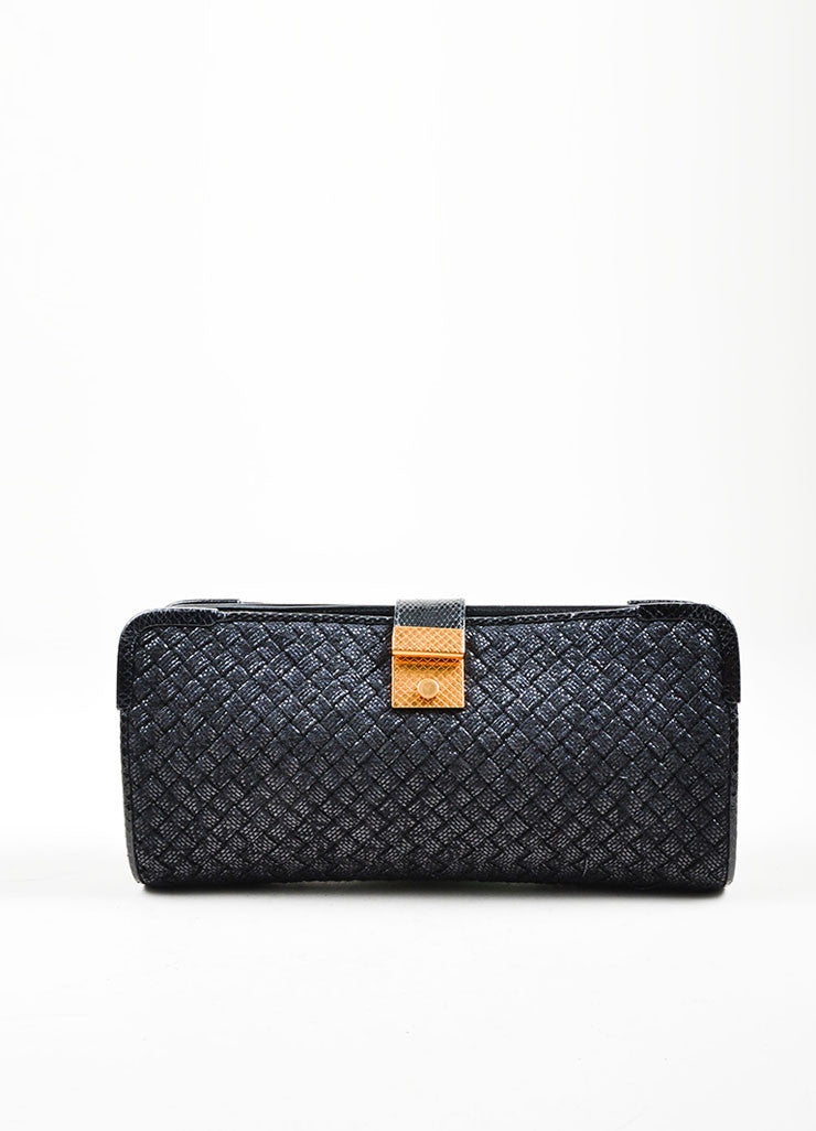 "Black Wool, Raffia, and Snakeskin Bottega Veneta Woven ""Ayers Livera"" Clutch Frontview"