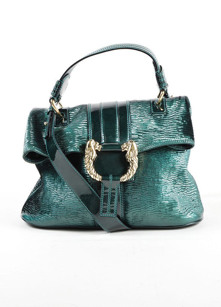 "Bulgari Green Patent Leather Ombre Textured Laser Cut ""Leoni"" Shoulder Bag Frontview"