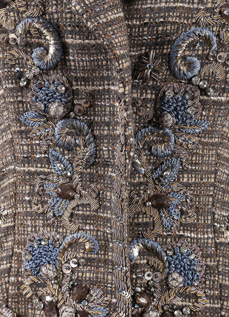 Carolina Herrera Taupe and Blue Wool Tweed Beaded Embroidered Tailored Vest Detail