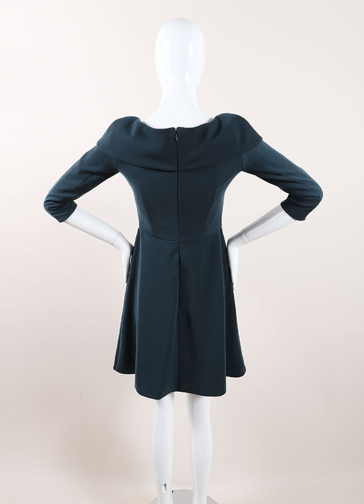 Carven Dark Teal Cuffed Off Shoulder Quarter Sleeve Dress Backview