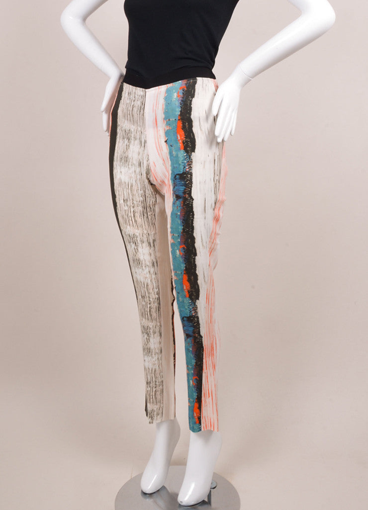 Cedric Charlier New With Tags Orange, Blue, and White Stripe Print Skinny Pants Sideview