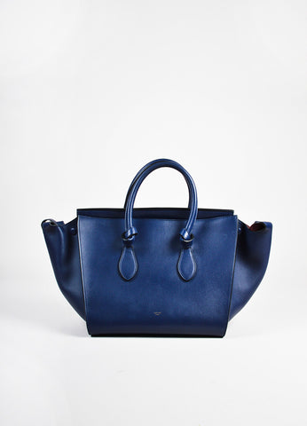 "Celine Navy Blue GHW ""Small Tie Tote"" Leather Handbag front"
