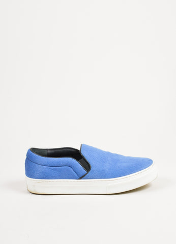 Celine Blue, Black, and White Pony Hair Flatform Slip On Sneakers Sideview