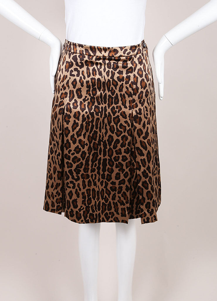 Celine Leopard Print Silk Pleated A Line Skirt Frontview
