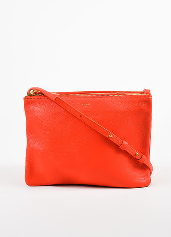 "Celine ""Alizarine"" Red Leather ""Large Trio"" Crossbody Bag Frontview"