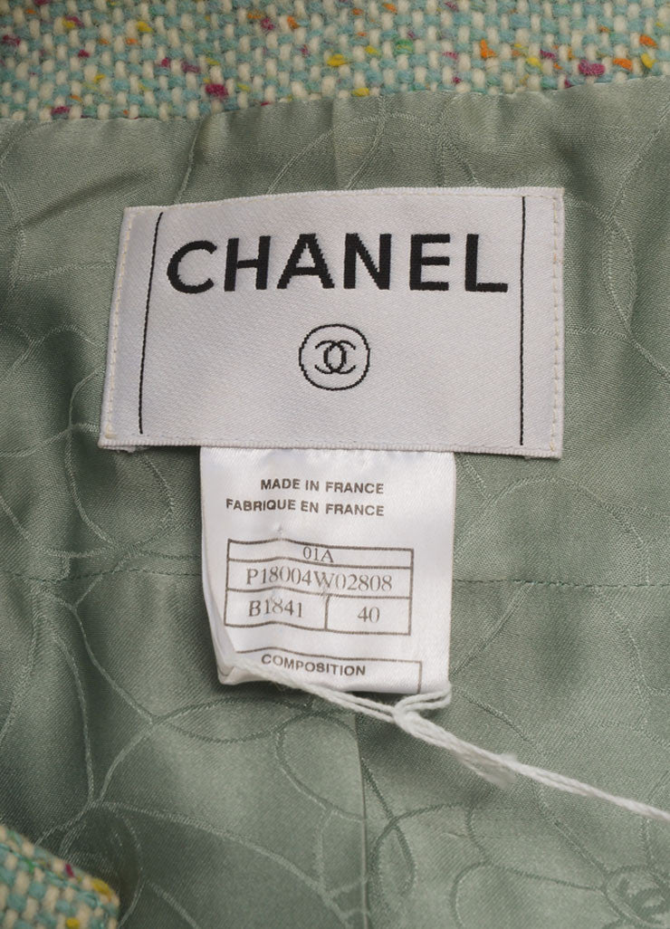 "Chanel Mint Green Wool Tweed ""CC"" Button Jacket Brand"