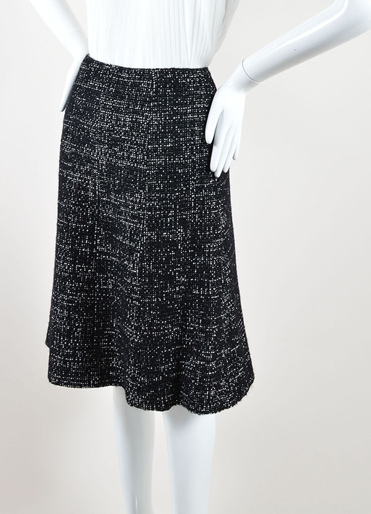 Chanel Black and White Wool Blend Tweed A-Line Skirt Side