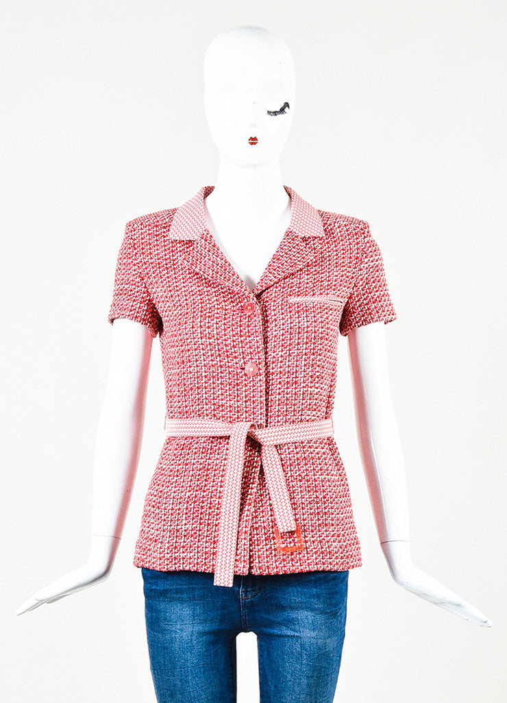 Chanel Pink Red Tweed Chevron Trim Short Sleeve Belted Jacket Front