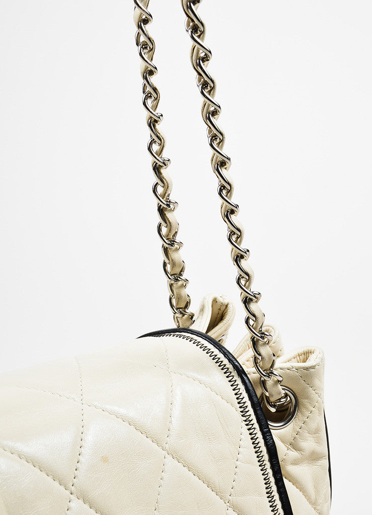 "Cream and Black Chanel Leather Quilted Chain Strap ""East West Accordion"" Bag Detail 2"