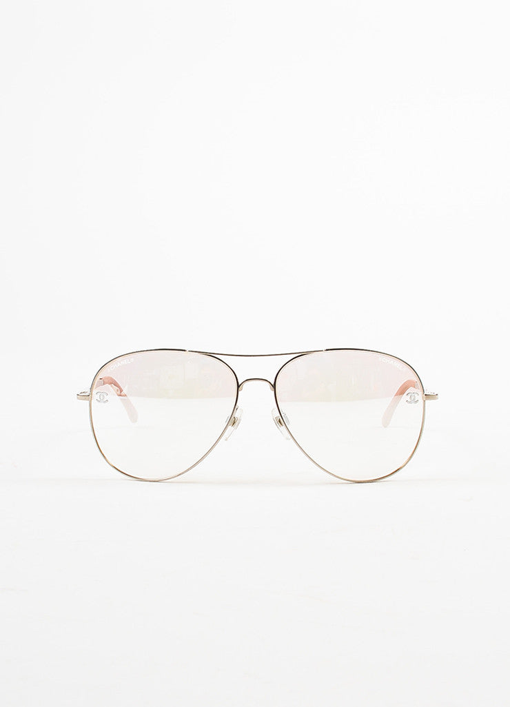 "Chanel Pink and Silver Toned Titanium ""Pilot Signature"" Mirrored Sunglasses Frontview"