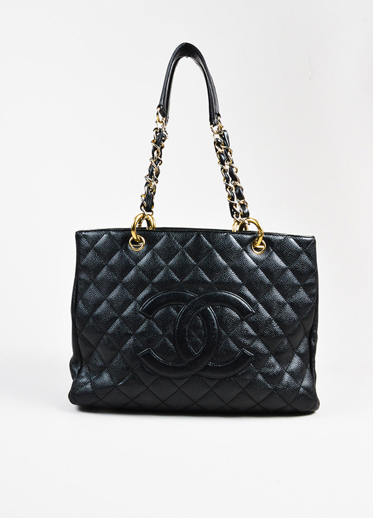 "Black Chanel Caviar Leather Quilted Chain Strap ""Grand Shopping"" Tote Front"