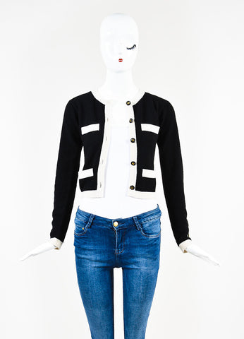Chanel Black and Cream Cashmere 'CC' Button Cardigan Sweater Frontview