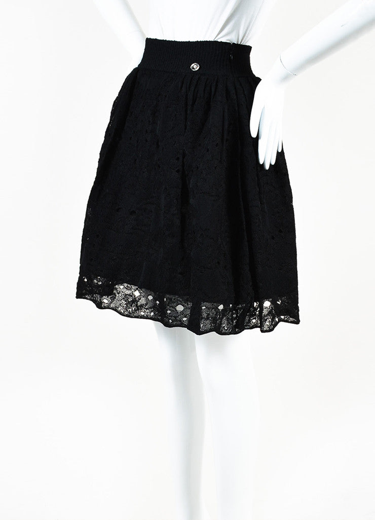 Chanel Black Lace Knit Pleated Flared Skirt Sideview