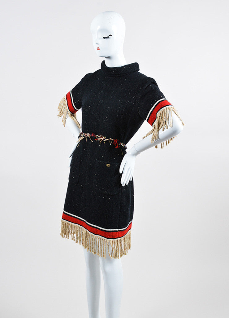 Black and Multicolor Chanel Cashmere and Silk Stripe Fringe Belted Shift Dress Sideview