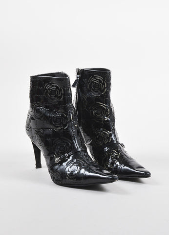 Chanel Black Patent Leather Laser Cut Camellia Flower Short Boots frontview
