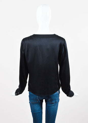Chanel Black Silk Rounded Neckline Button Down Long Sleeve Blouse Backview
