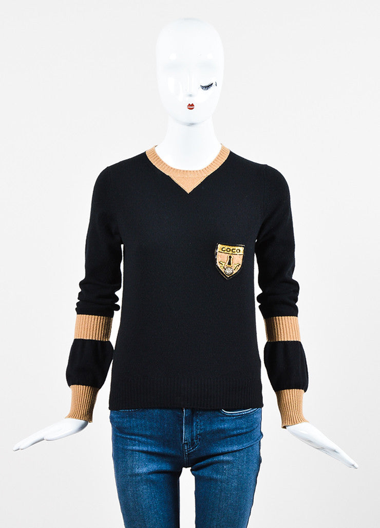 Black and Tan Chanel Cashmere Color Block Embellished Patch Sweater Frontview