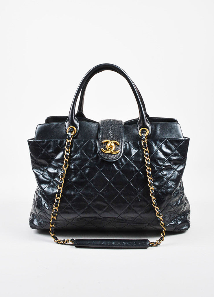 "Chanel Black Calfskin and Stingray Quilted ""Bindi"" Tote Bag Frontview"