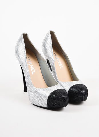 Chanel Silver Metallic Black Textured Cap Toe Platform Pump Heels Frontview
