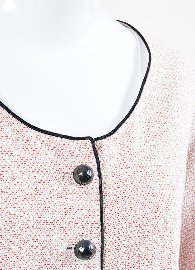 Red, White, and Beige Chanel Tweed Hammered 'CC' Button Jacket Detail