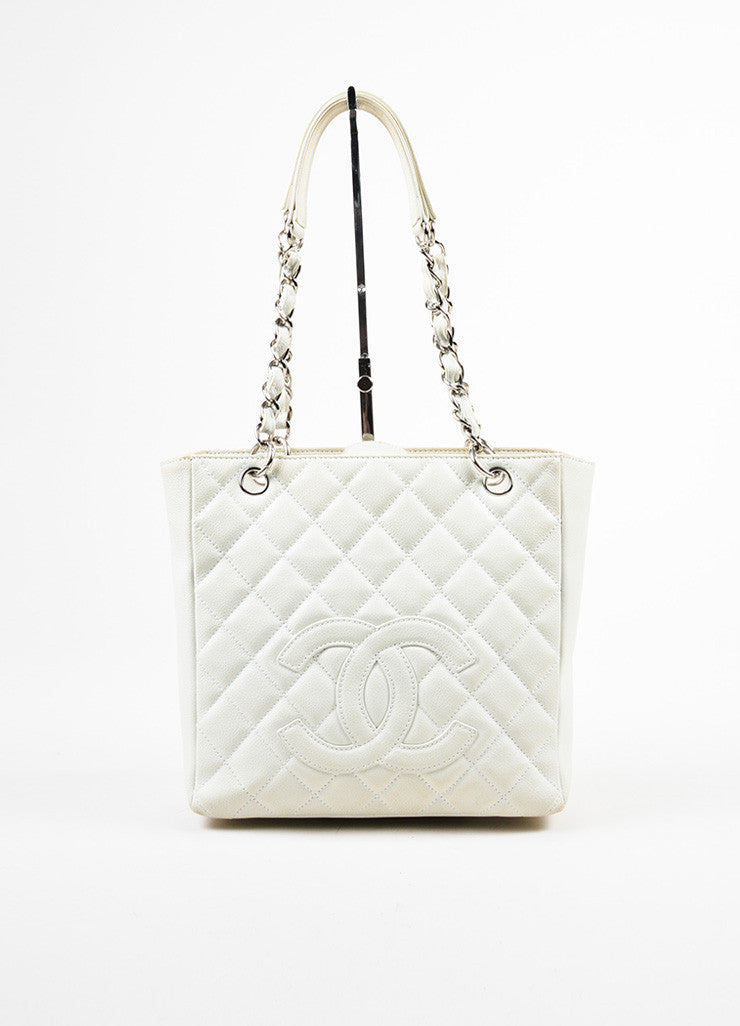 "Chanel White Leather Quilted Chain Strap ""Petite Shopper Tote"" Shoulder Bag Frontview"