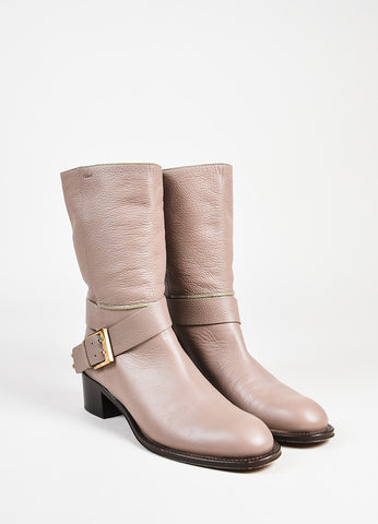Chloe Taupe Pebbled Leather GHW Buckled Mid Calf Boots Frontview