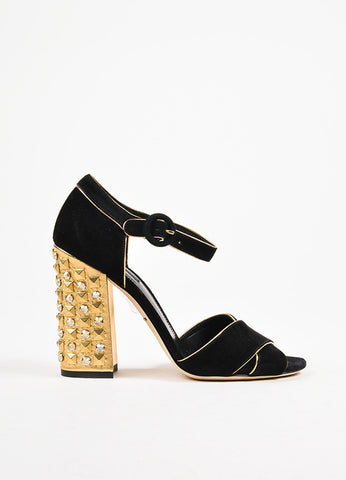 Dolce & Gabbana Black and Metallic Gold Suede Studded Heel Sandals Sideview