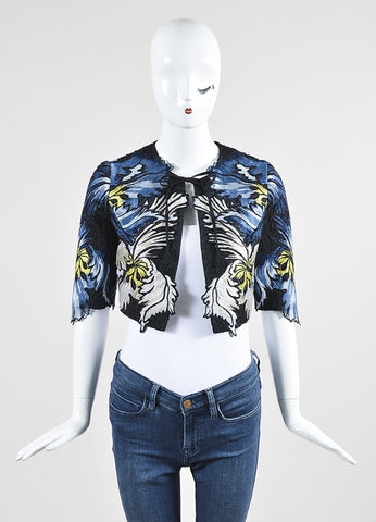 "Erdem Blue and Black Matelasse Embroidered Cropped ""Chessa"" Jacket Frontview"