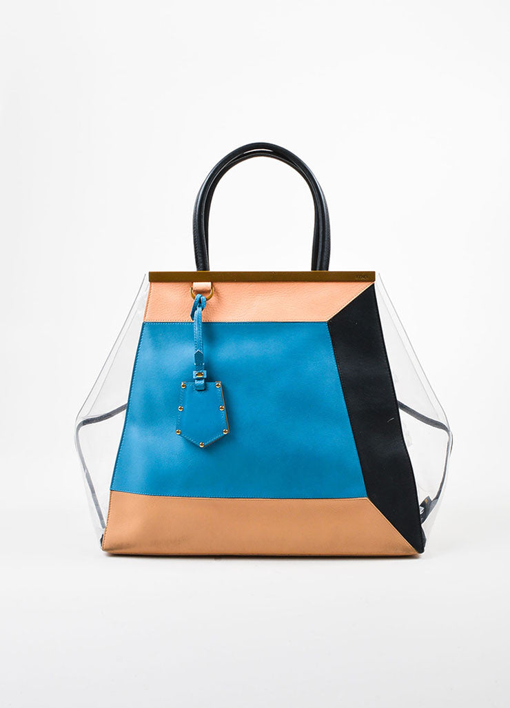 "Multicolor Fendi Leather and PVC Color Block ""2Jours"" Large Geometric Tote Bag Frontview"